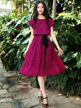Ericdress Floral Print Lace-Up Expansion Casual Dress