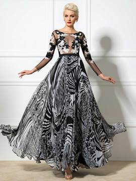 Ericdress Long Sleeve Pleats Print A-Line Long Evening Dress