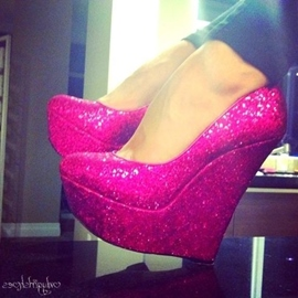 Rose Shining Sequins Wedges