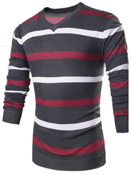 Ericdress Stripe Color Block V-Neck Long Sleeve Men's Sweater