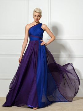 Ericdress One-Shoulder Pleats A-Line Long Evening Dress