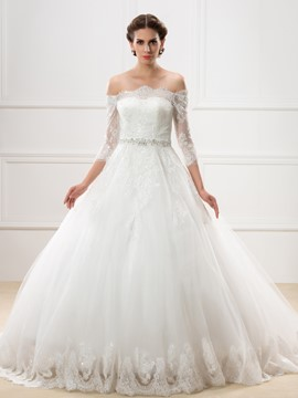Ericdress Charming Off the Shoulder Half Sleeves Lace Wedding Dress