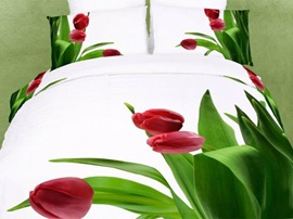 Ericdress Red Tulip Print 3D Bedding Sets