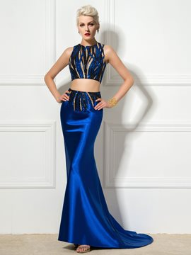 Ericdress Two-Piece Sequins Sleeveless Long Evening Dress