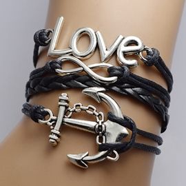 Sweet Love & Anchor Decorated Infinity Bracelet