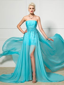 Ericdress Strapless Side Split Beaded Watteau Train Evening Dress