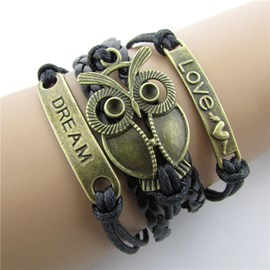 Cute Owl Decorated Leather Bracelet