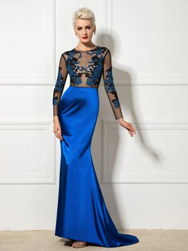 Ericdress Long Sleeve Appliques Backless Mermaid Long Evening Dress