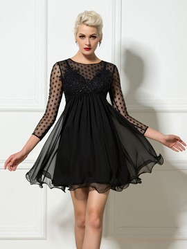 Ericdress Long Sleeve Dotted Sequins A-Line Short Cocktail Dress
