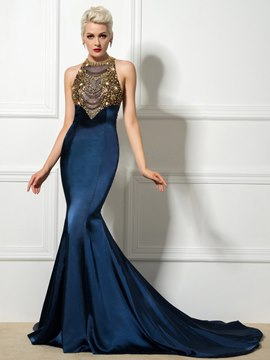 Ericdress Mermaid Court Train Beaded Long Evening Dress