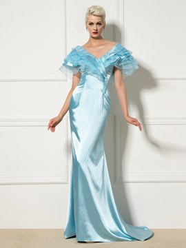 Ericdress V-Neck Ruffles Cap Sleeve Long Mermaid Evening Dress