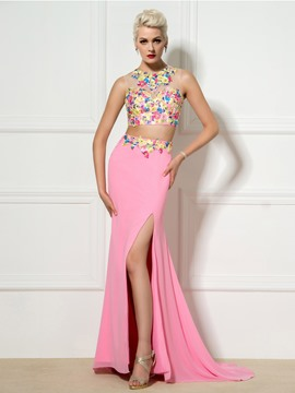 Ericdress Two-Piece Side-Split Appliques Mermaid Evening Dress
