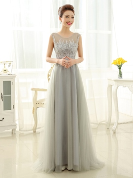 Ericdress Jewel Neck Appliques Sequins Long Evening Dress
