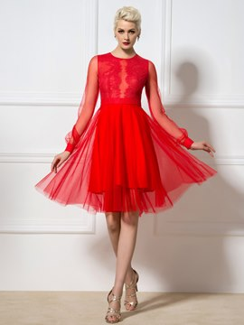 Ericdress Long Sleeves Lace A-Line Cocktail Dress