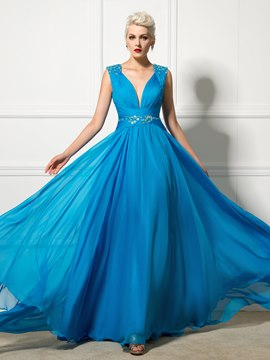 Ericdress Strapless A-Line Beaded Ruches Lace-Up Long Evening Dress