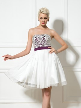 Ericdress A-Line Strapless Lace Beaded Short Cocktail Dress