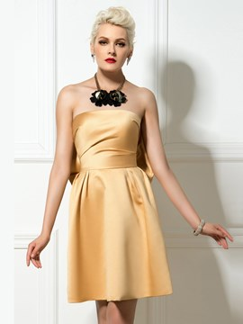 Ericdress Strapless Bowknot Short Cocktail Dress