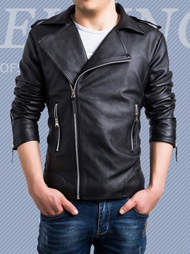 Ericdress Plain Zipper Lapel PU Men's Jacket
