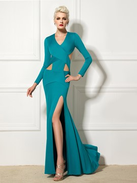 Ericdress V-Neck Long Sleeve Open Back Side-Split Evening Dress