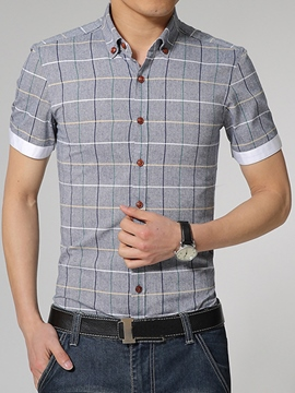 Ericdress Plaid Short Sleeve Plus Size Men's Shirt