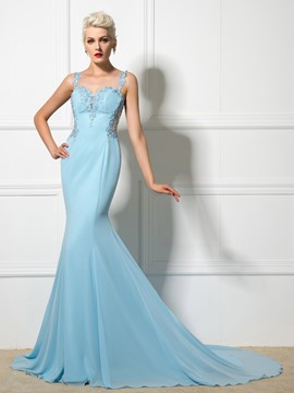 Ericdress Straps Mermaid Appliques Backless Long Evening Dress
