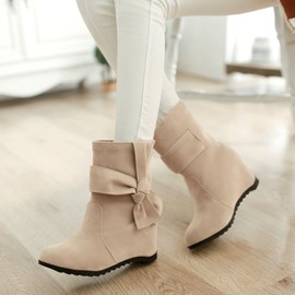 Ericdress Suede Ankle Boots with Bowtie