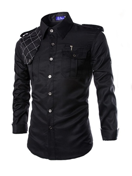 Ericdress Solid Color Zipper Pocket Design Men's Shirt