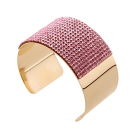 Colored Rhinestone Decorated Cuff Bangle