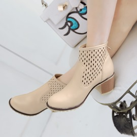 Bright Round-toe Ankle Boots