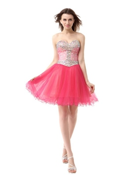 Ericdress A-Line Ruffles Beaded Short Homecoming Dress