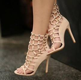 Light Apricot Hollow Out Stiletto Sandals with Rivets