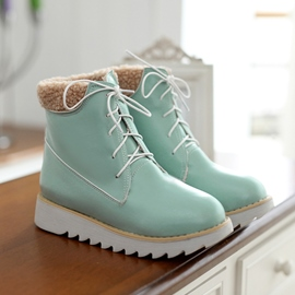 Candy Color Lace-up Ankle Boots