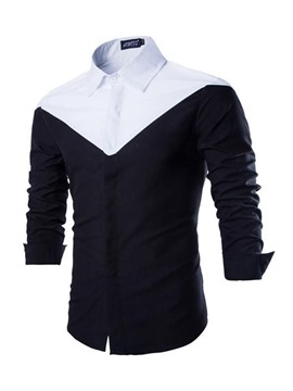 Ericdress Black and White Patched Long Sleeves Men's Shirt