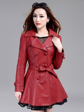 Ericdress Plain Fleece PU Trench Coat
