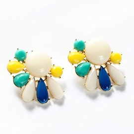 Colorful Plant Shaped Earrings
