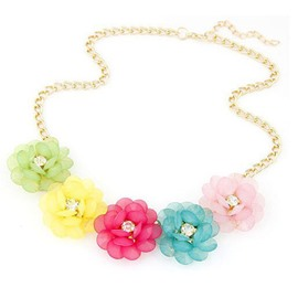 Lovely Colorful Flowers Decorated Necklace