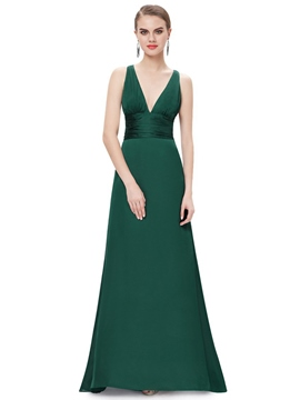 Ericdress Deep-V Neck Criss-Cross Back Long Evening Dress