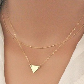 Metal Triangle Decorated Double Layers Necklace