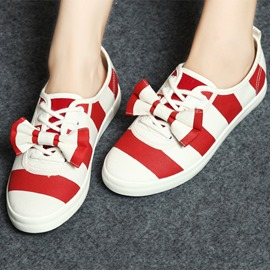 Korean Patchwork Canvas Flats with Bowknot