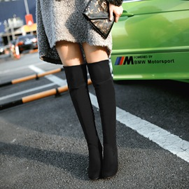 Solid Color Chunky Knee High Boots