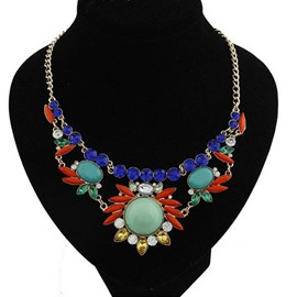 Bohemia Style Resin and Rhinestone Decorated Necklace