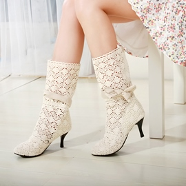 Ericdress Ladylike Cut Out High Heel Boots