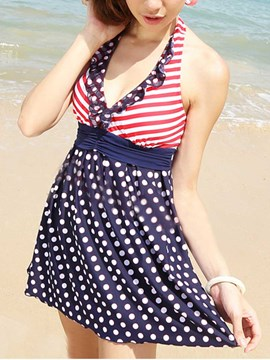 Ericdress Stripe and Polka Dots Swimwear