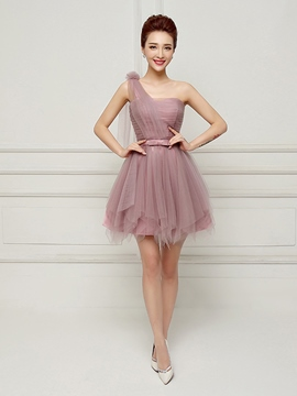 Ericdress One-Shoulder A-Line Lace-Up Bowknot Cocktail Dress