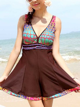 Ericdress Print Color Block V-Neck Swimwear