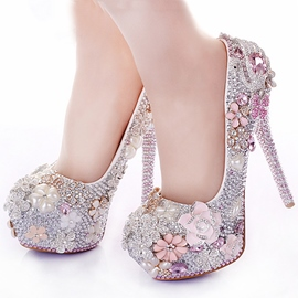 Ericdress Luxurious Pink Rhinestone Prom Shoes
