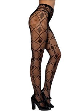 Ericdress Black Hollow Cross Line Design Pantyhose