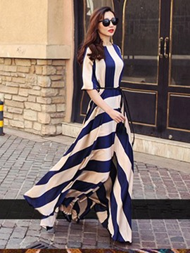 Ericdress Stripe Expansion Half Sleeve Maxi Dress