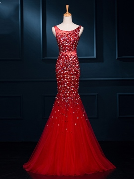 Ericdress Scoop Beading Mermaid lange Abendkleid