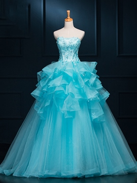 Ericdress Strapless Ruffles Appliques Ball Gown Quinceanera Dress